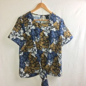 Ann Taylor Floral Blouse with a tie in the front